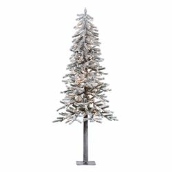 Flocked Alpine 6' White Artificial Christmas Tree with 200 Clear Lights with Stand