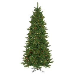 Camdon Fir 7.5' Green Artificial Slim Christmas Tree with 700 Multicolored Lights with Stand