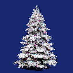 Flocked Alaskan 6.5' White Artificial Christmas Tree with 600 Multicolored Lights with Stand