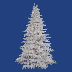 Flocked White Spruce 7.5' Artificial Christmas Tree with 650 LED Warm White Lights with Stand ...