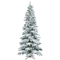 Flocked Utica Fir 7.5' White Artificial Christmas Tree with Stand