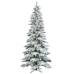 Flocked Utica Fir 7.5' White Artificial Christmas Tree with 360 LED Warm White Lights with ...