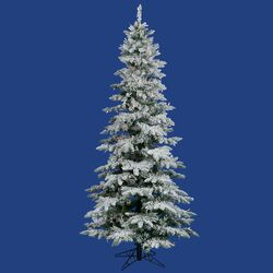 Flocked Utica Fir 9' White Artificial Christmas Tree with 440 LED Multicolored Lights with ...