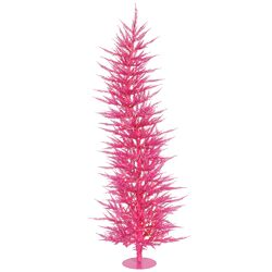 Colorful Laser 3' Pink Artificial Christmas Tree with 50 Mini Clear Lights with Stand