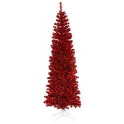 Pencil 4.5' Red Artificial Christmas Tree with 150 Red Lights