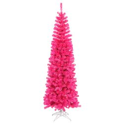 Colorful 6.5' Pink Artificial Christmas Tree with 300 Single Colored Lights