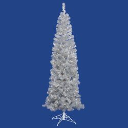 4.5' Silver Artificial Pencil Christmas Tree with 150 Clear Mini Lights