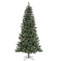 9' Green Snowtip Berry/Vine Artificial Christmas Tree with Metal Stand