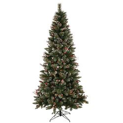 Snow Tip Pine / Berry 6' Pine Artificial Christmas Tree with 250 Multi-Colored Lights