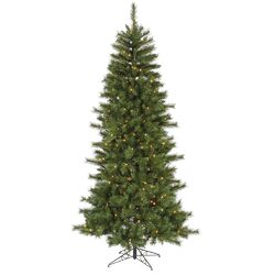 7' Green Newport Mix Pine Artificial Christmas Tree with 350 Clear Mini Lights with Stand ...