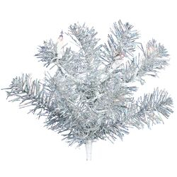 6' Silver Artificial Christmas Tree with 350 Clear Mini Lights with Stand