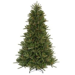 Vermont Instant Shape 7.5' Green Artificial Christmas Tree with 800 Multicolored Dura-Lit Mini ...
