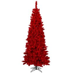 4.5' Red Pine Artificial Christmas Tree with 150 Mini Single Colored Lights with Flocked