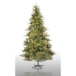 Country Pine 12' Green Slim Pine Artificial Christmas Tree with 1900 Pre-Lit Clear Lights with ...
