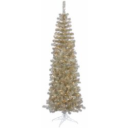 Champagne Pencil 7.5' Artificial Christmas Tree with 400 Clear Lights