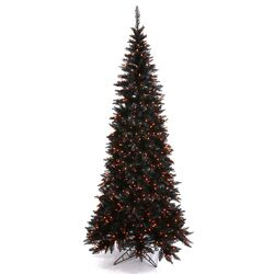 9' Black Slim Fir Artificial Christmas Tree with 700 Mini Orange Lights