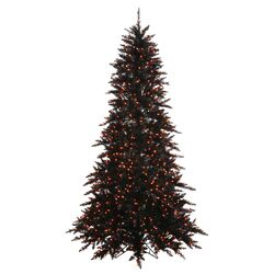 6.5' Black Fir Artificial Christmas Tree with 600 Mini Clear Lights