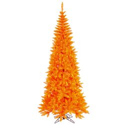 6.5' Orange Slim Fir Artificial Christmas Tree with 400 Mini Lights