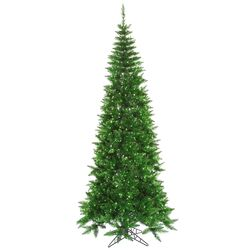 6.5' Tinsel Green Slim Fir Artificial Christmas Tree with 400 Mini Lights