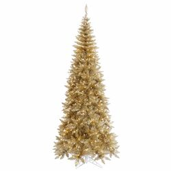 4.5' Champagne Slim Fir Artificial Christmas Tree with 200 Mini Clear Lights