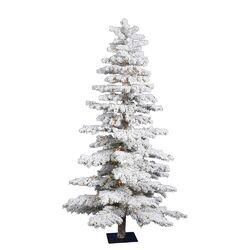 7' White Idaho Spruce Artificial Christmas Tree with 300 Dura-Lit Clear Lights and Flocked