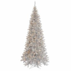 7.5' Silver Slim Fir Artificial Christmas Tree with 500 Mini Clear Lights