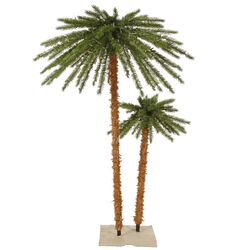 6' Green Outdoor Palm Artificial Christmas Tree with 400 Clear Lights
