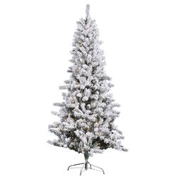 6.5' Slim White Pine Artificial Christmas Tree with 350 Clear Lights and Flocked