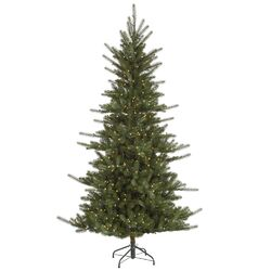 Colorado 6.5' Green Slim Spruce Artificial Christmas Tree with 500 LED White Lights with Stand ...