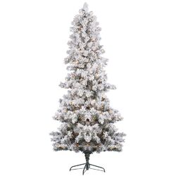 7' White Pine Artificial Christmas Tree with 450 Clear Lights and Flocked