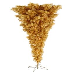 Glitter 7' Gold Upside Down Unique Artificial Christmas Tree with 600 Clear Lights
