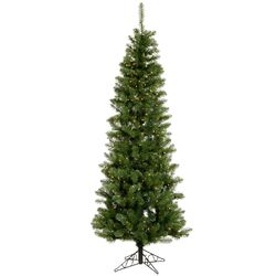 Salem Pencil Pine 4.5' Green Artificial Christmas Tree with 150 Clear Lights with Stand