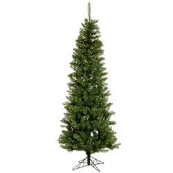 Salem Pencil Pine 7.5' Green Artificial Christmas Tree with 270 Warm White LED Lights with ...