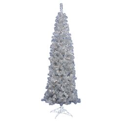 6.5' Silver Artificial Pencil Christmas Tree with 300 Clear Mini Lights