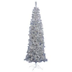 7.5' Silver Artificial Pencil Christmas Tree with 400 Clear Mini Lights