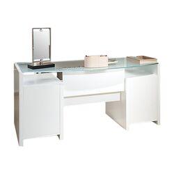 New York Skyline Bow Front Double Pedestal Executive Desk