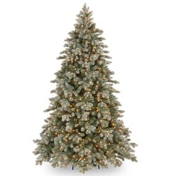 Colorado Spruce 7.5' Green Poly Frosted Artificial Christmas Tree with 750 Pre-Lit Clear Lights ...
