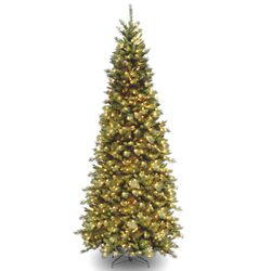 Tiffany Fir 9' Green Slim Artificial Christmas Tree with 700 Pre-Lit Clear Lights with Stand ...