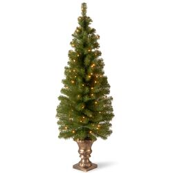 Montclair Entrance 5' Green Spruce Artificial Christmas Tree with 100 Pre-Lit Clear Lights with ...