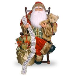 Plush Santa Sitting on Rocking Chair