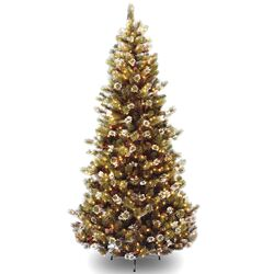 Glittery Pine 7.5' Brown Slim Hinged Pine Artificial Christmas Tree with 500 Pre-Lit Clear ...