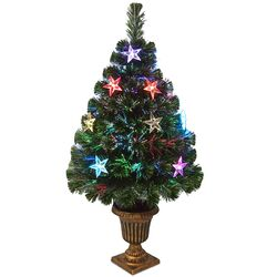 Evergreen 3' Green Fiber Optic Fireworks Artificial Christmas Tree with Multicolor LED Lights ...
