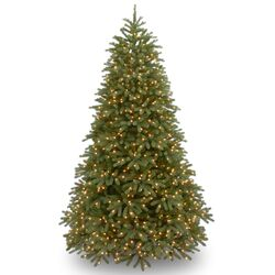 Jersey Fraser Fir 9' Green Medium Artificial Christmas Tree with 1500 Pre-Lit Clear Lights with ...