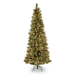 Glittery Bristle Pine 7.5' Green Slim Artificial Christmas Tree with 600 Soft White LED Lights ...