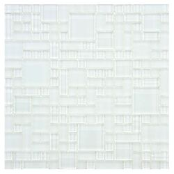 Sierra Random Sized Polished Glass Mosaic in Versailles Ice White