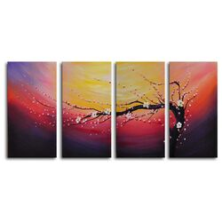 Swept into the Night 4 Piece Painting Print on Canvas Set