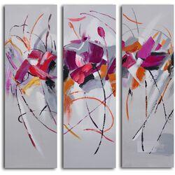 Fuchsia Frolicking Flower 3 Piece Canvas Art Set