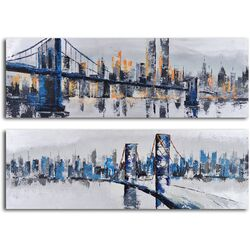 'City Suspensions' 2 Piece Original Painting on Canvas Set