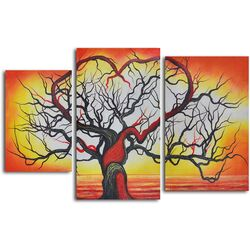 3 Piece ''The Love of Trees'' Hand Painted Oil Painting Set