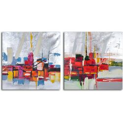 'Reflections by Wharf Abstract' 2 Piece Original Painting on Canvas Set